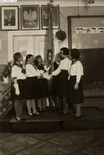 Bais Yaakov students of Lublin perform in a play.